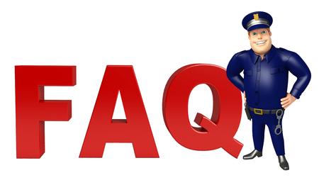 よくあるご質問記号と警察 写真素材