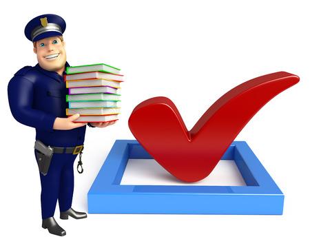 警察と右の記号と本のスタック 写真素材