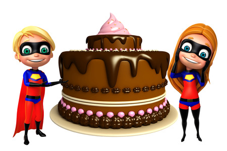 supergirl: superboy and supergirl with Cake