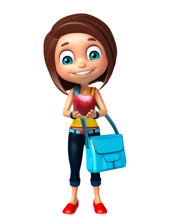 kid girl with Apple and Schoolbag Stock Photo