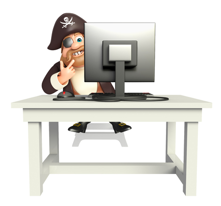 tricorne: 3d rendered illustration of Pirate with Computer Stock Photo