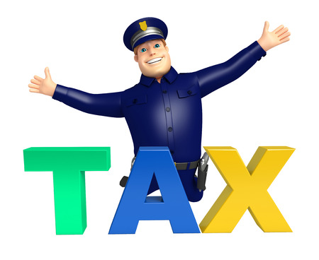 Police with Tax sign Stock Photo