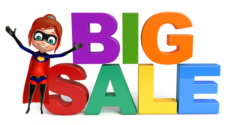 supergirl: supergirl with Big sale sign Stock Photo