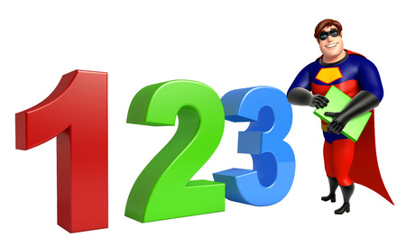 Superhero with 123 sign & book Stock Photo