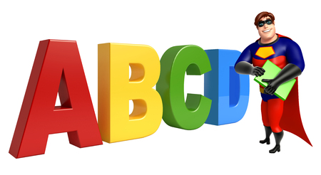 abcd: Superhero with ABCD sign & book Stock Photo