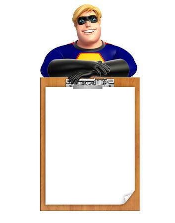 pad: Superhero with Exam pad Stock Photo