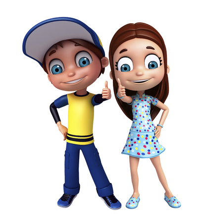 kid girl and kid boy with thums up pose stock photo picture and