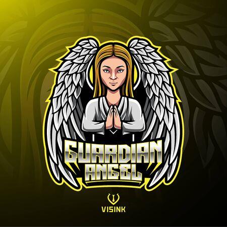Conception de logo de mascotte d'ange gardien