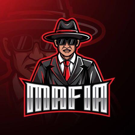 Conception de jeu de mascotte de logo de mafia