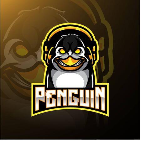 Penguin mascot logo design with headphones Иллюстрация