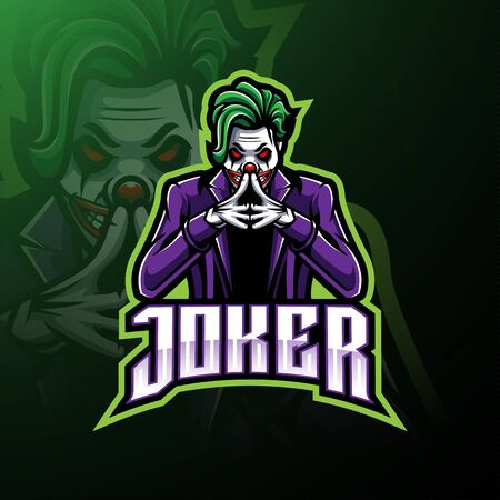 Joker esport mascot logo design Illustration