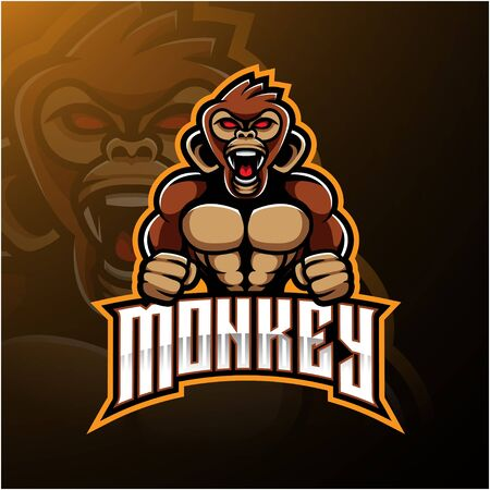 Angry monkey face mascot logo design