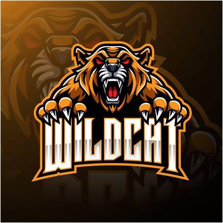 Angry wildcat face mascot logo design