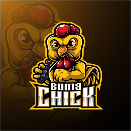 Angry chick mascot logo design with Çizim