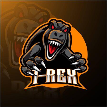 Design del logo della mascotte esport T-rex