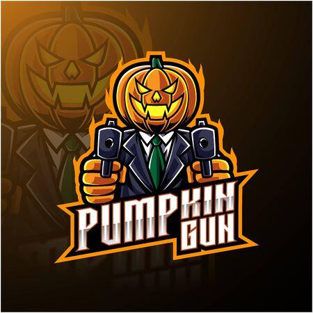 Halloween pumpkin with gun mascot logo design