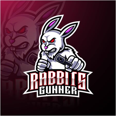Rabbit esport mascot logo design