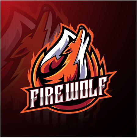 Fire wolf esport logo design Stok Fotoğraf - 129995181