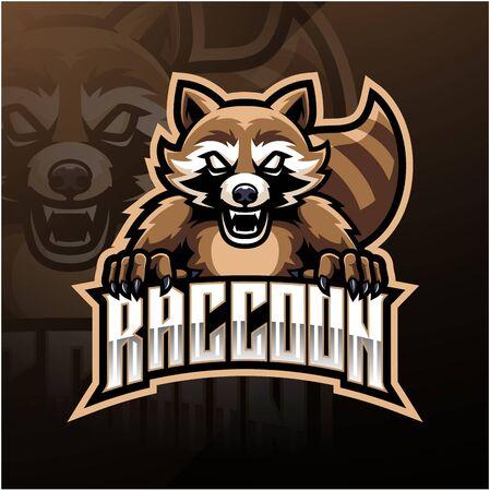 Raccoon sport mascot logo design