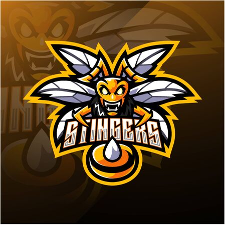 Angry bee mascot logo design