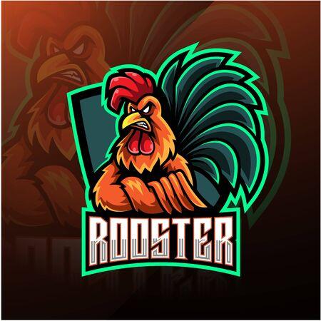 Rooster esport mascot logo design