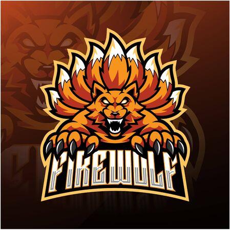 Fire wolf esport mascot logo design