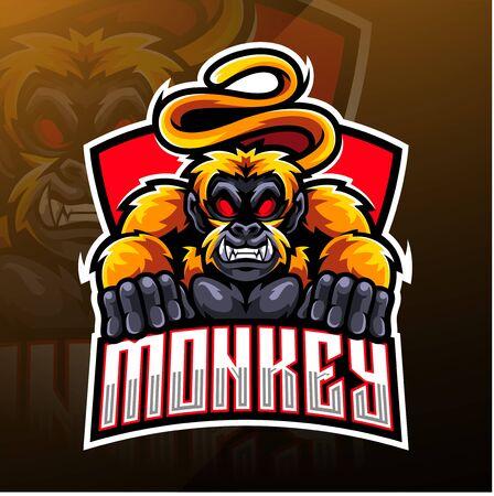 Monkey esport mascot logo design Иллюстрация