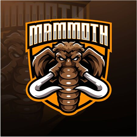 Mammoth head esport mascot logo design Иллюстрация
