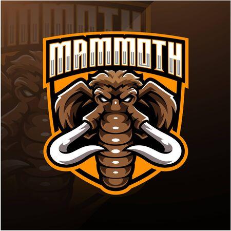 Mammoth head esport mascot logo design Illustration