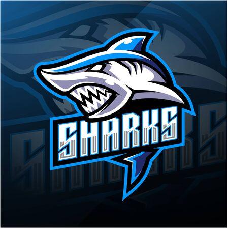 Shark esport mascot logo design Иллюстрация
