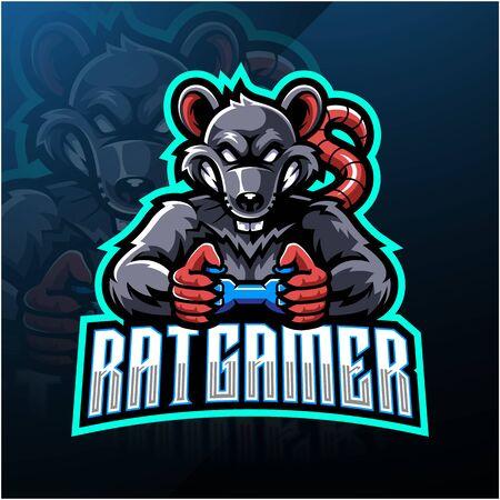 Rat gamer esport mascot logo Stock Illustratie