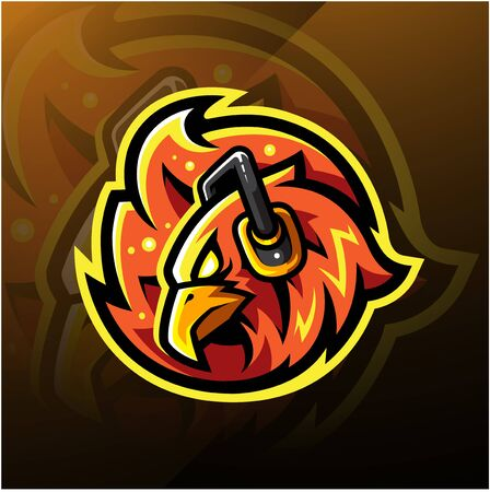 Phoenix head esport logo with headphones Ilustracja