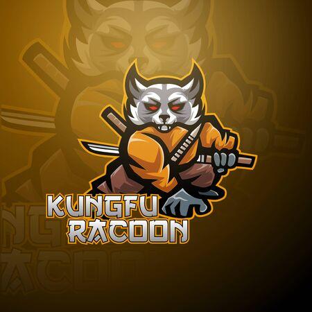 Kungfu raccoon esport mascot logo design