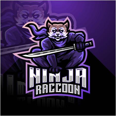 Ninja raccoon esport mascot logo design