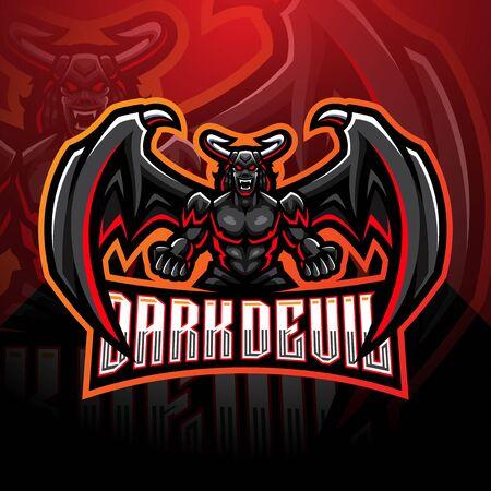 Dark devil esport mascot logo design Иллюстрация