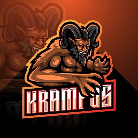 Krampus esport mascot logo design Иллюстрация
