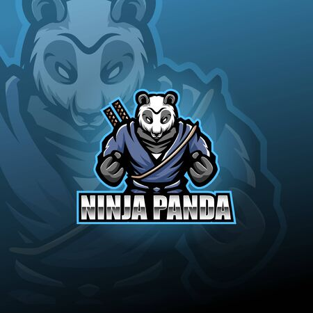 Ninja panda esport mascot logo Illustration