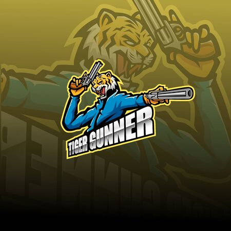 Tiger gunner esport logo design Banque d'images - 138083524
