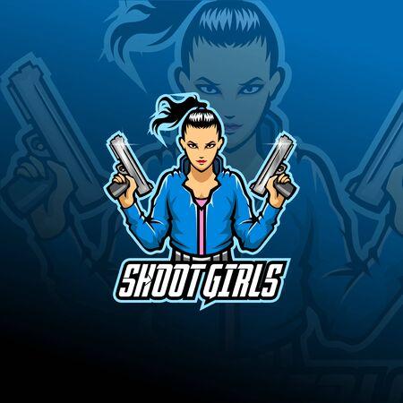 Shoot girl esport mascot logo