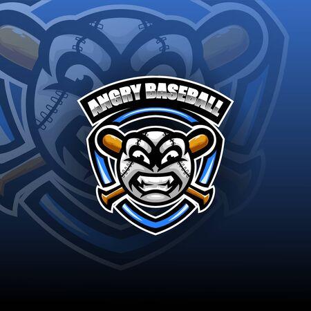 Angry ball esport mascot logo