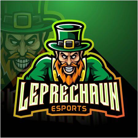 Leprechaun esport mascot logo design Archivio Fotografico - 138083544