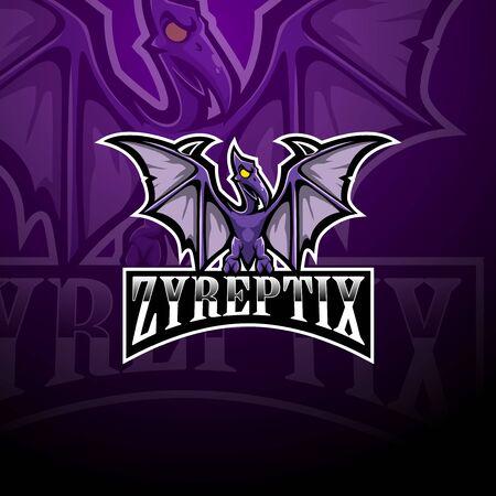 Pterodactyl esport mascot logo design