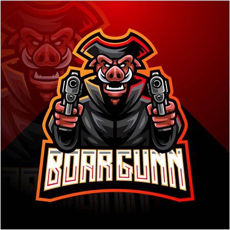 Razorback gunners esport mascot logo Ilustracja