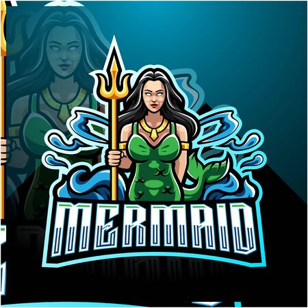 Mermaid holding a trident esport mascot logo