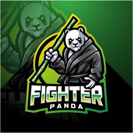 Panda fighter esport mascot design