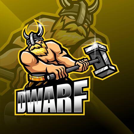 Dwarfs esport mascot  logo design Illustration