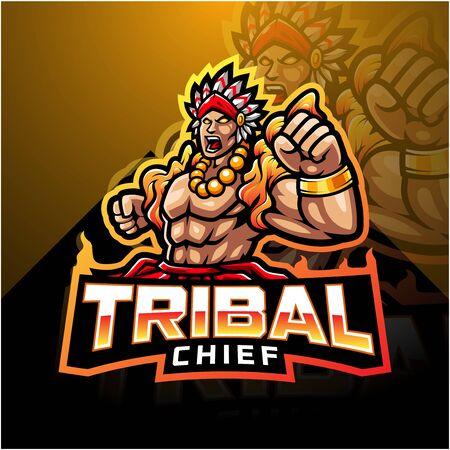 Tribal chief esport mascot logo