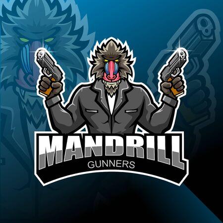 Mandrill gunner esport mascot logo design