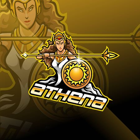 Athena esport mascot logo design Illustration