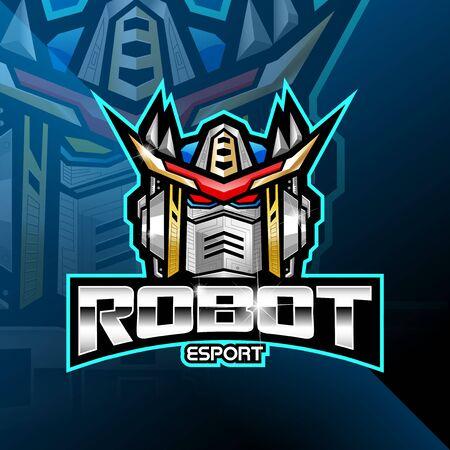 Robot head esport mascot logo Logos